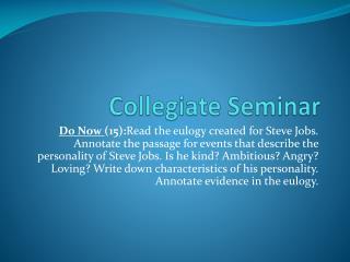Collegiate Seminar