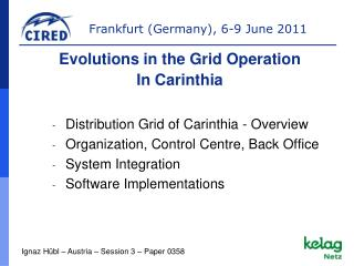 Distribution Grid of Carinthia - Overview Organization, Control Centre, Back Office