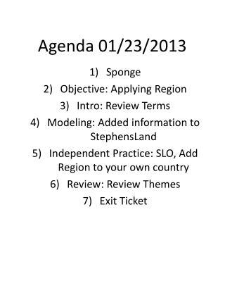 Agenda  01/23/2013