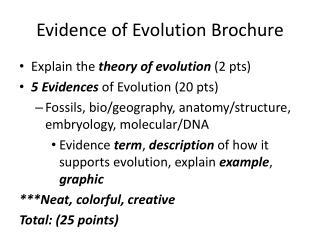 Evidence of Evolution Brochure