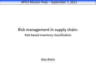 APICS Mission Peak – September 7, 2011