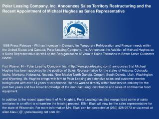 Polar Leasing Company, Inc. Announces Sales Territory