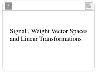Signal  ,  Weight Vector  Spaces  and Linear Transformations