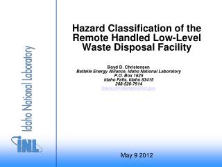 Hazard Classification of the Remote Handled Low-Level Waste Disposal Facility