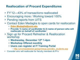 Reallocation of  Procard  Expenditures