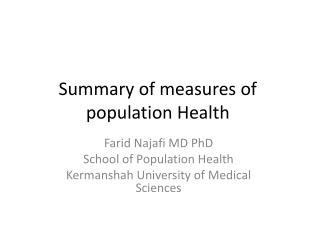 Summary of measures of population Health