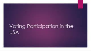 Voting Participation in the USA