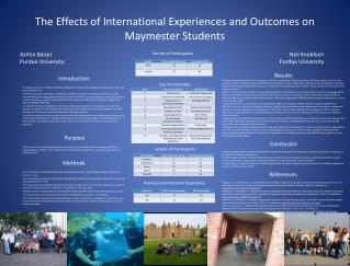 The Effects of International Experiences and Outcomes on Maymester Students