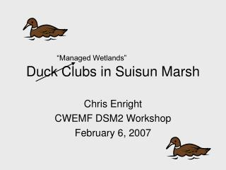 Duck Clubs in Suisun Marsh