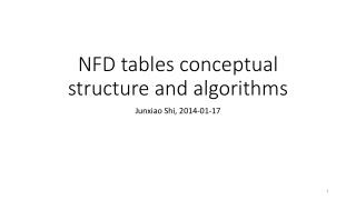 NFD tables conceptual structure and algorithms