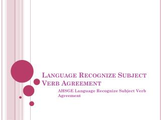 Language Recognize Subject Verb Agreement