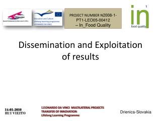 Dissemination and Exploitation of results