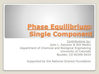 Phase Equilibrium : Single Component