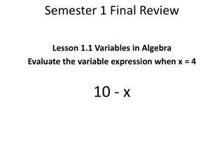 Semester 1 Final Review