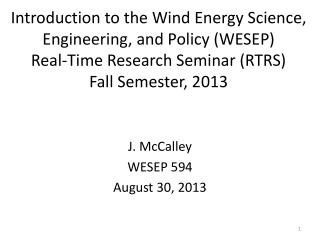 J. McCalley WESEP  594 August 30 ,  2013