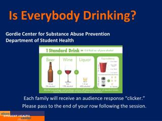 Is Everybody Drinking?  Gordie Center for Substance Abuse Prevention Department of Student Health