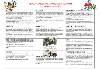 MOUNT PLEASANT PRIMARY SCHOOL AUTUMN 2 YEAR 6