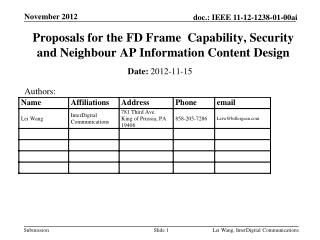 Proposals for the FD Frame  Capability, Security and Neighbour AP Information Content Design