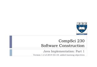 Java Implementation: Part 1 Version 1.2 of 2014-03-18: added learning objectives