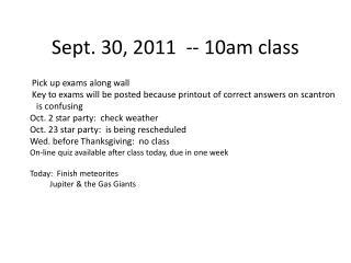 Sept. 30, 2011  -- 10am class