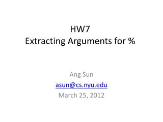 HW7  Extracting Arguments for %