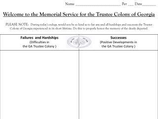 trustee colony memorial sevice notes sheet