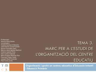 TEMA 3 .  MARC PER A L'ESTUDI DE L'0RGANITZACIÓ DEL CENTRE EDUCATIU