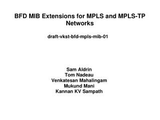BFD MIB Extensions for MPLS and MPLS-TP Networks
