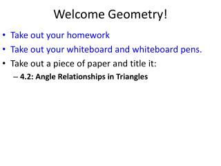 Welcome Geometry!
