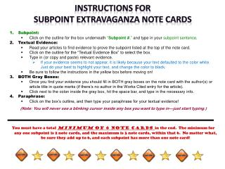INSTRUCTIONS FOR  SUBPOINT EXTRAVAGANZA NOTE CARDS