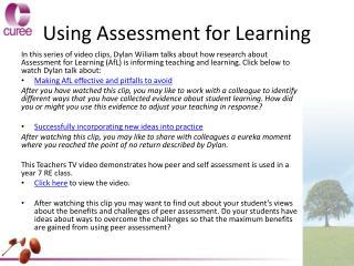 Using Assessment for Learning