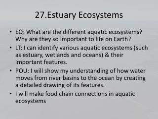 27.Estuary Ecosystems