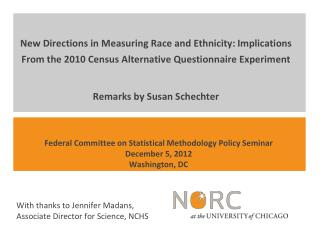 Federal Committee on Statistical Methodology Policy Seminar December  5 , 2012 Washington, DC