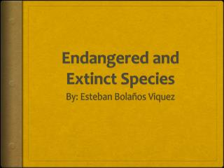 Endangered and Extinct Species