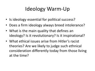 Ideology Warm-Up