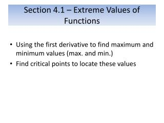 Section 4.1 – Extreme Values of Functions
