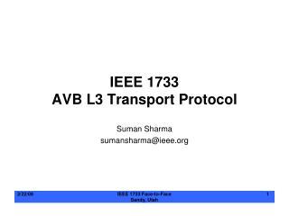 IEEE 1733 AVB L3 Transport Protocol