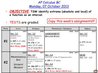 AP  Calculus  BC Monday ,  07 October 2013