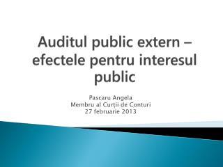 Auditul  public extern �  efectele pentru interesul  public
