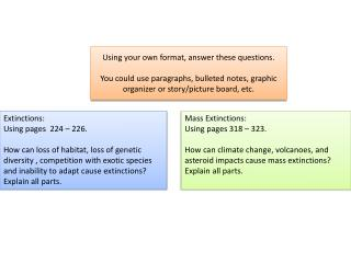 Extinctions:   Using pages  224 – 226.