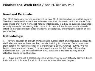Mindset and Work Ethic /  Ann M. Renker, PhD