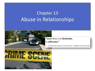 Chapter 13 Abuse in  Relationships