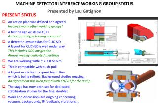 MACHINE DETECTOR INTERFACE WORKING GROUP STATUS Presented by Lau Gatignon