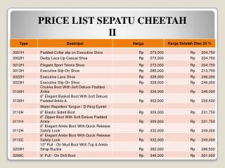 PRICE LIST SEPATU CHEETAH  II