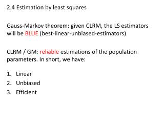 2.4 Estimation by least squares
