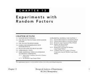 Design of Engineering Experiments -  Experiments with Random Factors