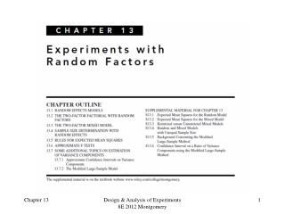 Design of Engineering Experiments -  Experiments with Random Factors
