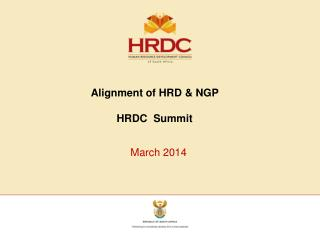 Alignment of HRD & NGP  HRDC  Summit