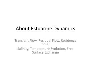 About Estuarine Dynamics