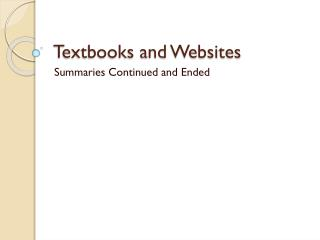 Textbooks and Websites